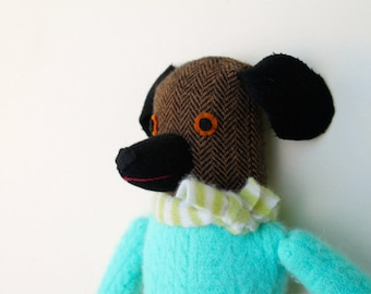 Brown and Black Girl Dog wool doll plush softie