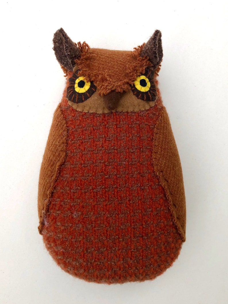 Russet Orange Brown Horned Owl Wool doll textured pillow image 0