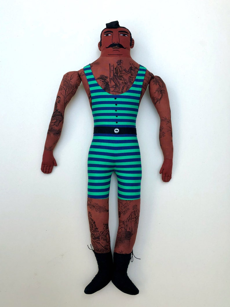 Dark Tattooed Man Doll in Green Old-Fashioned Bathing Suit image 0
