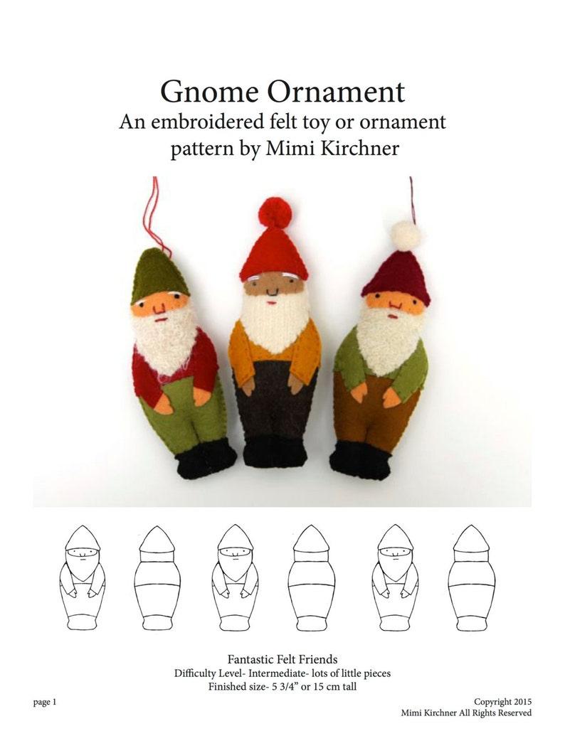 Gnome Elf Ornament pdf Pattern Tutorial Felt toy embroidery image 0