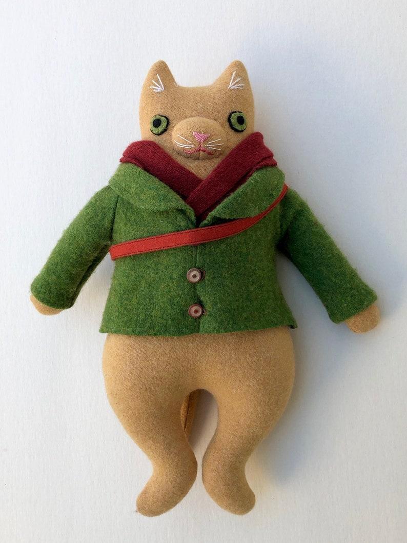 Yellow Kitty Boy wool doll plush Hiker image 0
