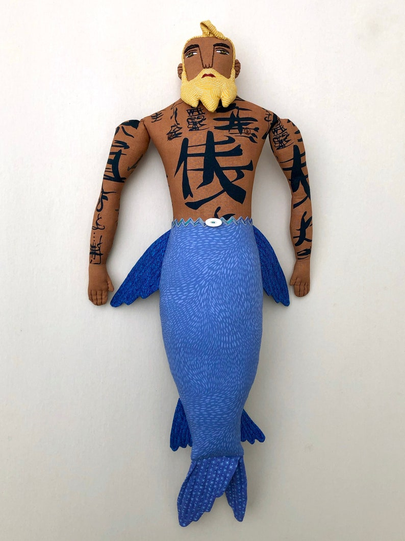 Blond Merman Beard Tattoos Man doll image 0