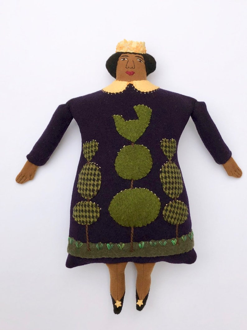 Lady Pillow doll Queen of the Night Topiary wool cashmere image 0