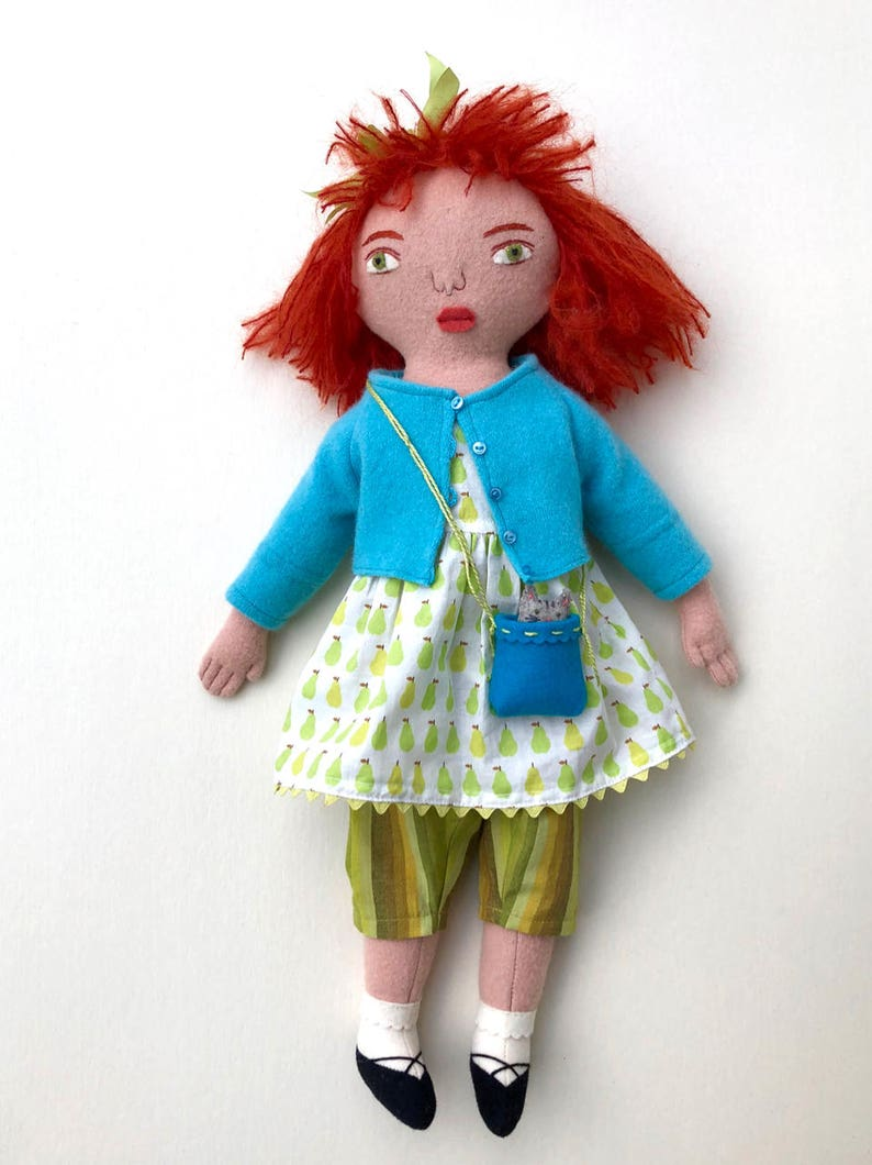 Little Girl Red-haired doll wool with Pear Dress image 0