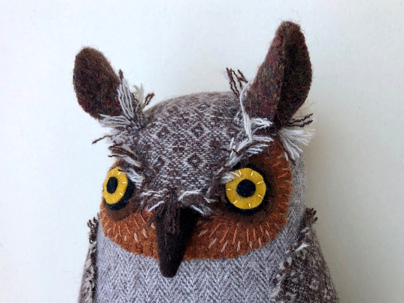 Beige Wool Horned Owl doll textured pillow softie plush image 0