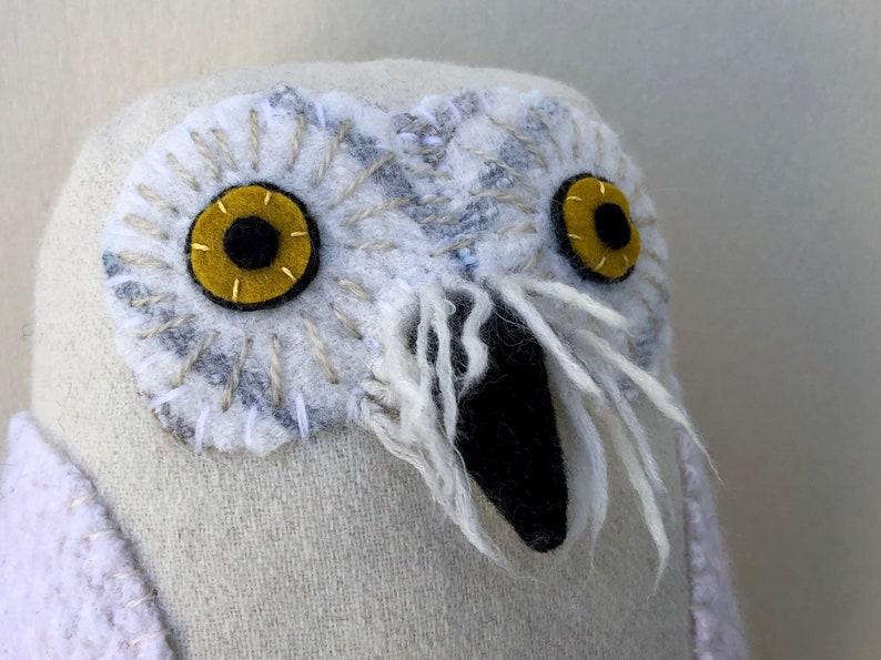 Shaggy Snowy owl reclaimed wool pillow doll softie image 0
