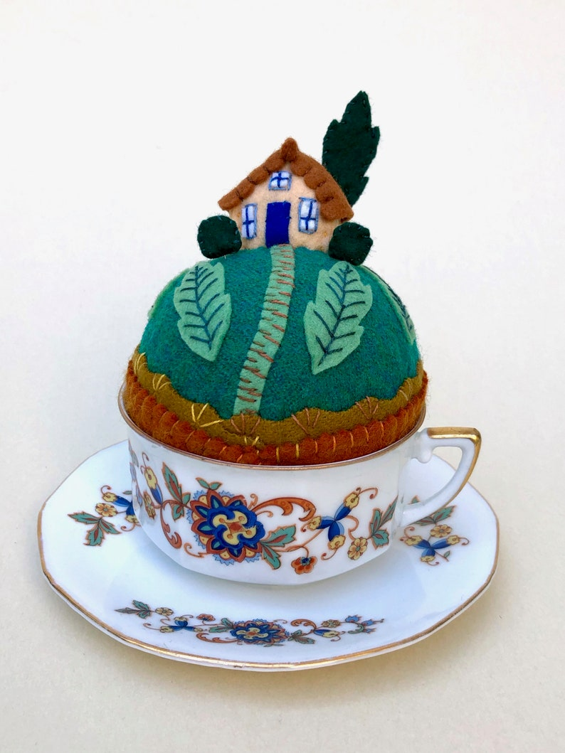 Teacup Pincushion Tiny World House on a Hill Wool Make-do image 0