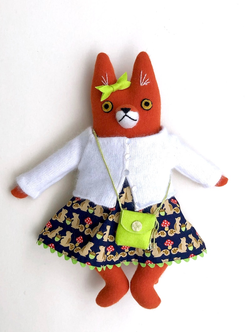 Bright Girl Fox Doll wool Fox dress purse plush softie image 0