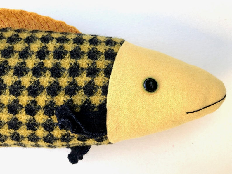 Yellow and Black Fancy Patterned wool bright fish pillow doll image 0