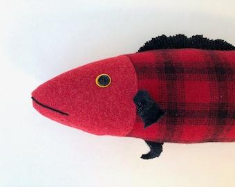 Wool Fish Red Plaid pillow doll cabin ocean decor