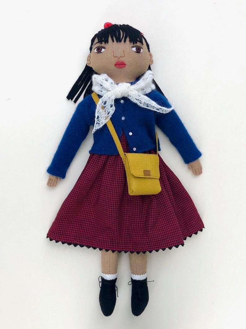 School Girl doll with a Bookbag Satchel wool image 0