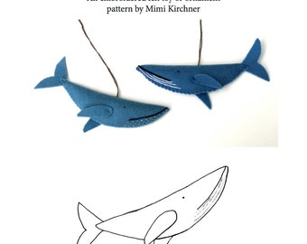 Whale Ornament pdf Pattern Tutorial Felt toy embroidery hand stitch
