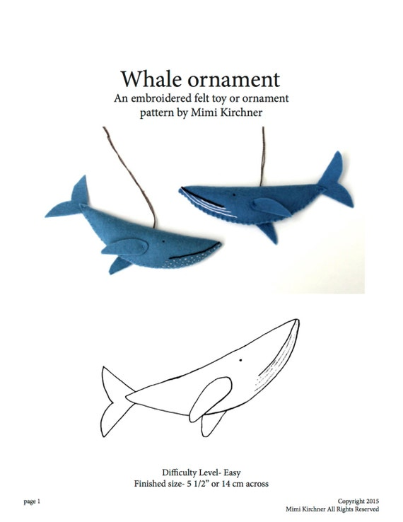 Whale Ornament pdf Pattern Tutorial Felt toy embroidery hand | Etsy