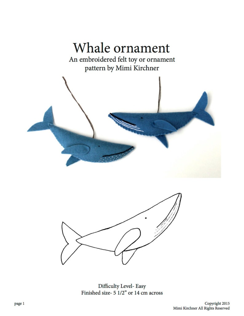 Whale Ornament pdf Pattern Tutorial Felt toy embroidery hand image 0