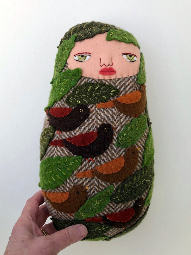 Swaddled Bird Baby Folk Art wool doll image 0