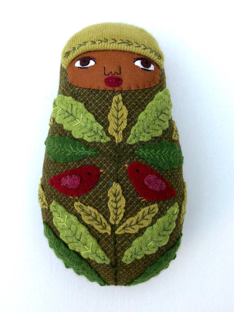 Swaddled Folk Art Baby pillow doll birds leaves wool cashmere image 0