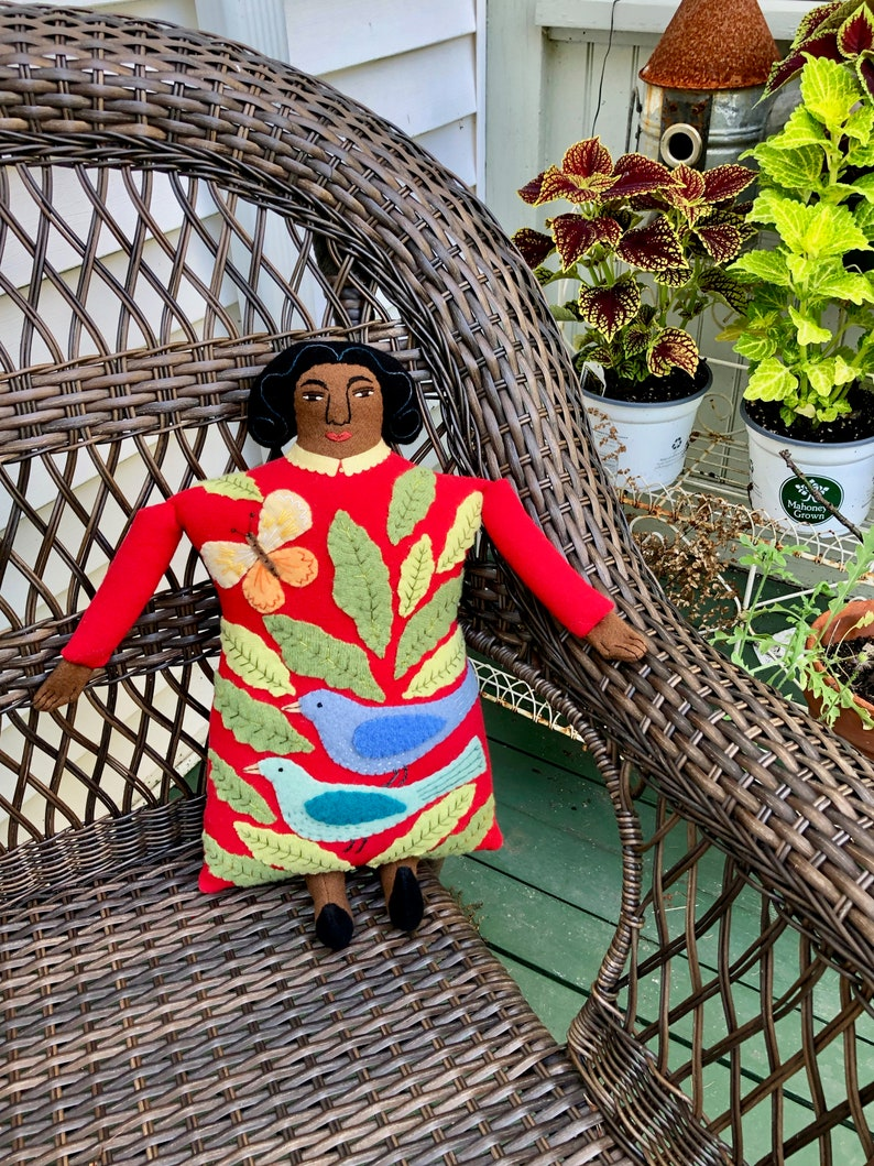Bright Lady Pillow doll Garden with Birds and Butterfly wool image 0
