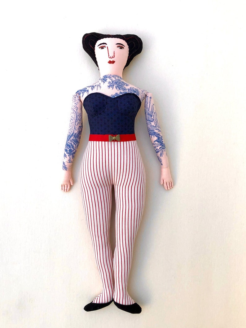Tattooed Lady doll black haired curvy retro circus image 0