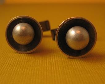 Aluminum sterling brass cufflinks Faux pearl Industrial strength
