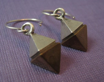 Bronze and sterling silver earrings long Diamond pyramid drops