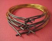 Brass bangles two tone twig bracelets set of 8
