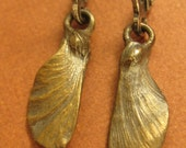 Bronze Japanese Maple seed helicopter pod fairy wing earrings
