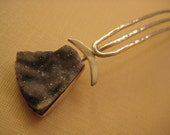 Salt and pepper Druzy Sterling silver hair spear comb Drusy hair pin