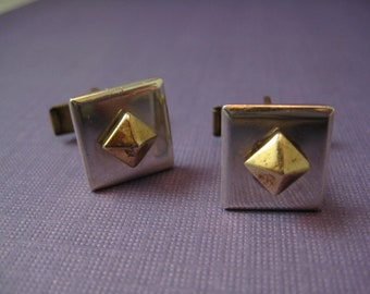 Square sterling silver cufflinks with brass pyramids
