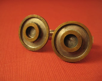 Bulls eye circle sterling and brass cufflinks
