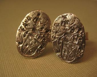 Ancient crest shield cufflinks sterling silver