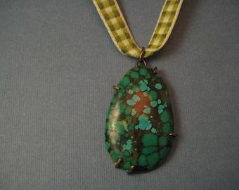 Teardrop turquoise pendant on gingham ribbon oval
