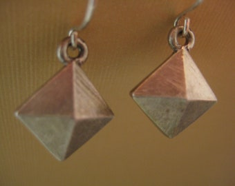 Double diamond pyramid earrings sterling silver