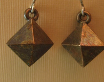 Double diamond pyramid earrings Bronze on sterling silver