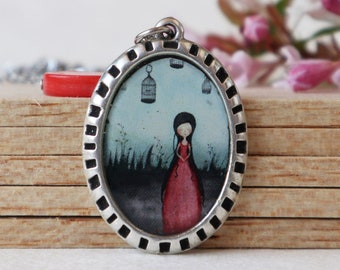 large pendant,fairytale pendant,wearable art,pop surrealism jewelry,original illustration pendant, April