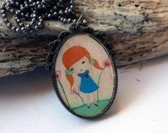 Jorinda large pendant,fairytale pendant,wearable art,pop surrealism jewelry,original illustration pendant,