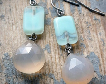 cloudy sky earrings. czech glass and grey chalcedony on oxidized sterling silver by val b.