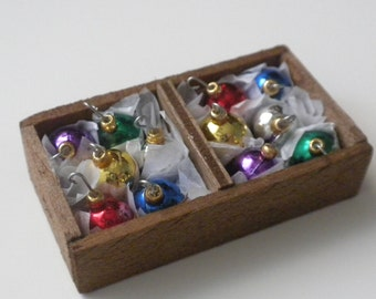 Christmas Ornaments in Wooden Crate by IGMA Diane Paone Dollhouse Miniatures