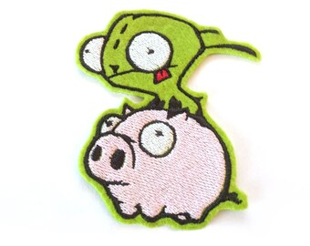 Gir and Piggy Invader Zim embroidered iron on patch