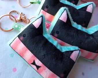 Black Cat Plushie KeyChain, Cat Charm