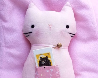 Kawaii Handmade Embroidery Face Cute Cat Plushie with Book - PINK