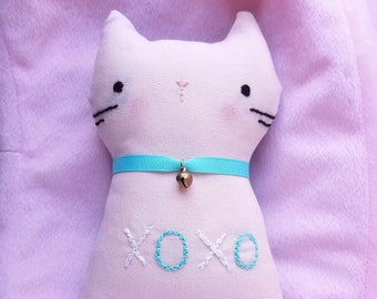 Pink Handmade Embroidery Cute Cat Plushie XOXO
