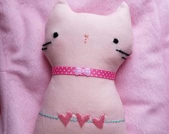 Kawaii Handmade Embroidery Designed Cute Cat Plushie - PINK