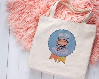 Adopt, Don't Shop. Light Canvas Tote Bag, Cat Bag