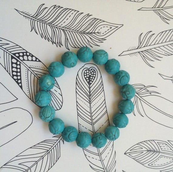Handmade Textured TURQUOISE Beaded Bracelet