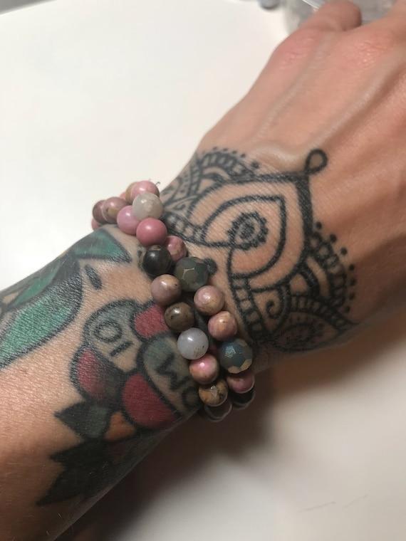 Rhodonite Stretchy Wrap Bracelet