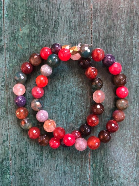 Earthy Jewel Tone AGATE Bracelet