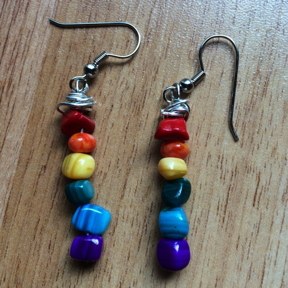 Happy Yogi Rainbow Chakra Dangle Earrings