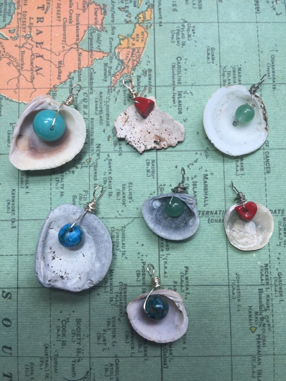 Florida Seashell & Gemstone Bead Pendants