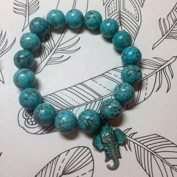 Turquoise & Patina Elephant Bracelet