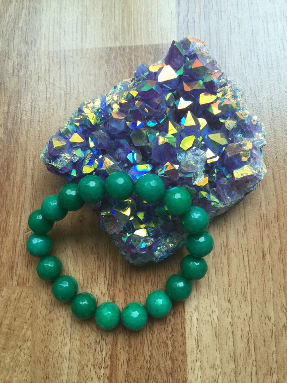 Genuine Faceted JADE Stretch Bracelet